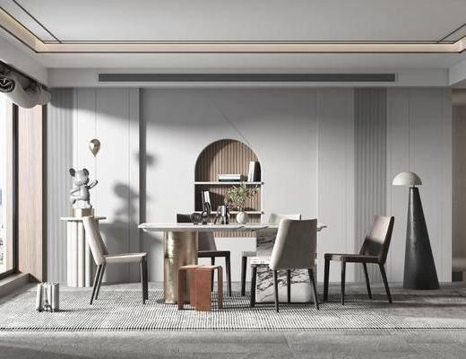 �F代大理�石餐桌椅