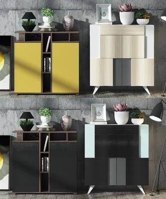 边柜, 装饰柜, 玄关柜, 现代边柜组合, 摆件, 装饰品, 植物, 盆栽, 现代