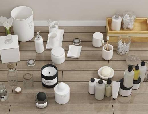 洗护用品, 摆件组合, 香水化妆品, 棉签香皂, 洗涤, 卫浴用品, 现代