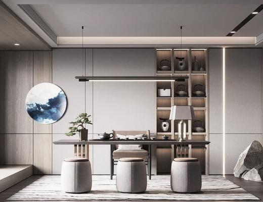 新中式书房, 书桌, 装饰柜, 墙饰