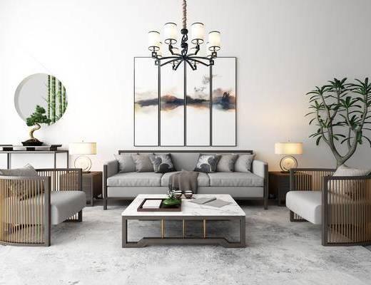 沙发, 茶几, 多人沙发, 单椅, 椅子, 单人沙发, 吊灯, 墙饰, 盆栽, 植物, 花卉, 花瓶, 挂画, 装饰画, 台灯, 案几, 边几, 新中式