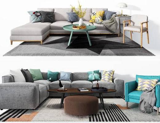 转角沙发, 沙发组合, 抱枕, 茶几, 单椅
