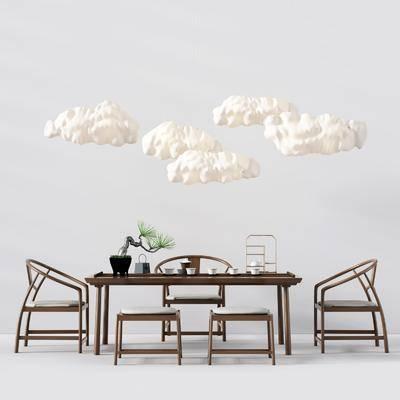 桌椅组合, 餐桌椅, 装饰灯, 中式, 新中式