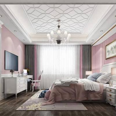 简欧儿童房床电视柜装饰画吊灯, 简欧, 卧室, 儿童房, 床, 床头柜, 门