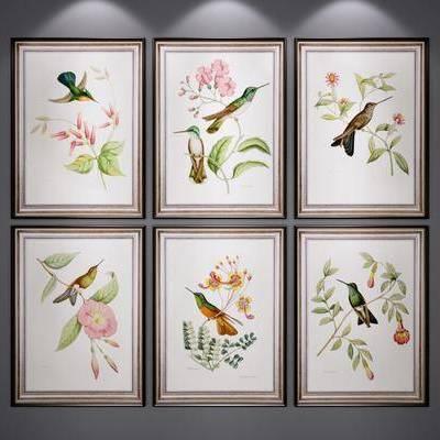 植物画, 挂画, 装饰画, 美式