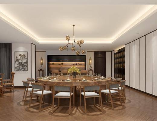 新中式, 餐厅, 餐桌, 餐椅, 餐桌椅, 吊灯, 壁灯, ?#21830;? 吧椅