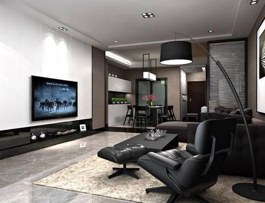 餐厅, 现代, 客厅, 多人沙发, 沙发组合, 单椅, 休闲椅, 餐桌, 吊灯, 电视柜, 茶几, 落地灯, 凳子