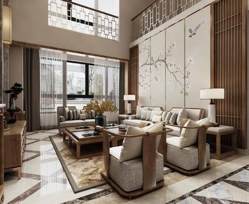 中式客厅, 客厅, 中式沙发, 椅子, 电视柜, 茶几