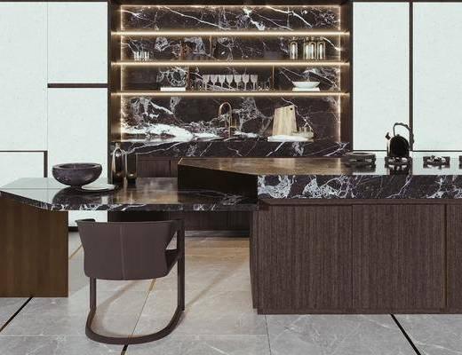吧椅, 矮凳, 灶头, 酒柜, 装饰品
