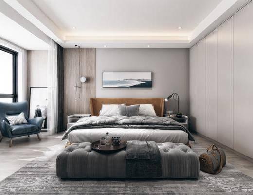 双人床, 装饰画, 电视柜, 床头柜