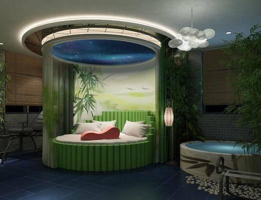 竹子圆床, 酒店客房, 柱子, 落地灯, 吊灯, 单人椅, 中式