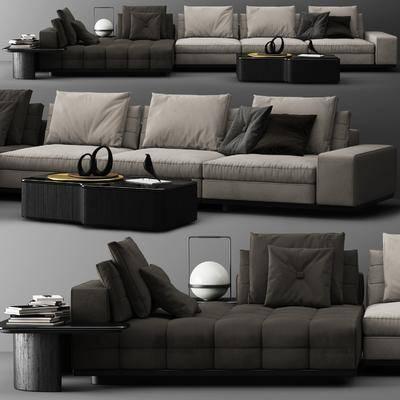 多人沙发, 布艺沙发, 边几, 台灯, 现代