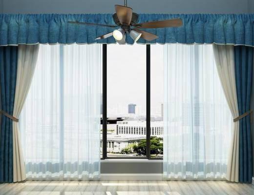 窗帘, 吊灯, 美式