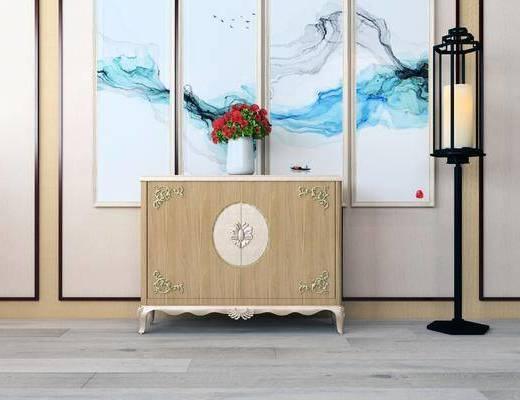 装饰柜, 新中式装饰柜, 花瓶花卉, 落地灯, 新中式