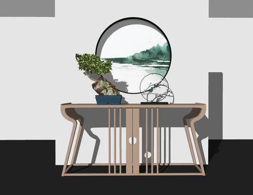 端景台, 摆件组合, 盆景, 墙饰