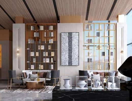 售楼处, 洽谈区, 沙发组合, 桌椅组合