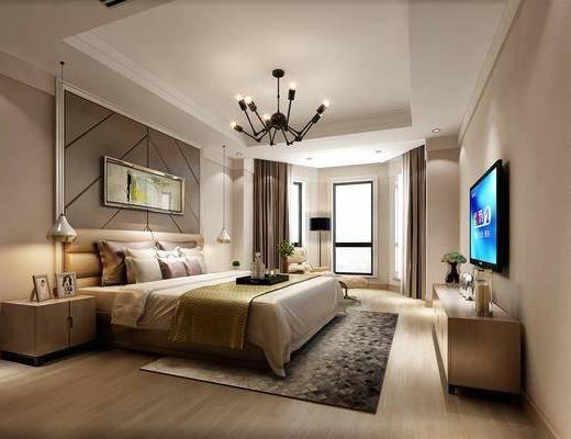现代, 卧室, 双人床, 边柜, 休闲椅, 电视柜, 吊灯, 挂画, 地毯, 落地灯