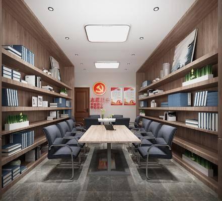 桌椅组合, 书柜, 书架, 墙饰