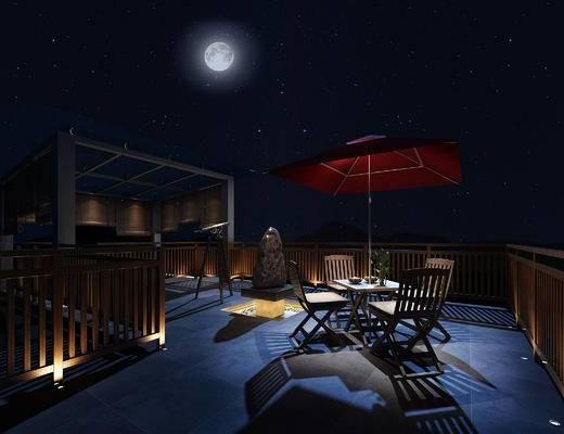 中式, 庭院, 阳台, 桌椅组合