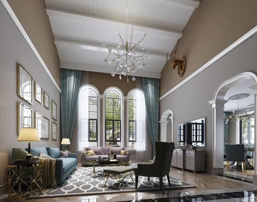 美式, 美式客厅, 美式别墅, 别墅, 沙发组合, 花枝吊灯, 金属吊灯