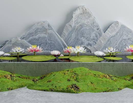 假山, 景观小品, 水景, 枯山水石, 禅意小品