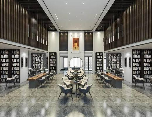 图书馆, 书柜, 书籍, 桌椅组合
