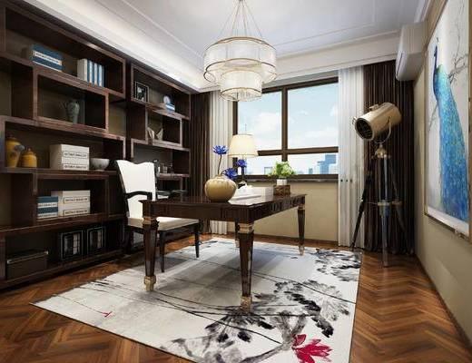书桌, 柜子, 吊灯, 装饰画, 窗帘