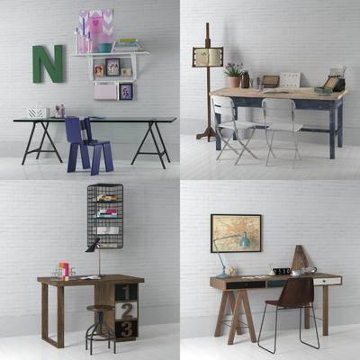 书桌, 单椅, 椅子, 摆件, 装饰品, 置物架, 北欧