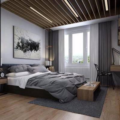 卧室, 双人床, 床头柜, 床尾凳, 书桌, 单椅, 台灯, 摆件, 装饰画, 北欧
