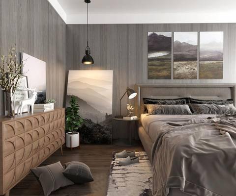 卧室, 床, 床头柜, 装饰画, 装饰柜, 抱枕, 台灯
