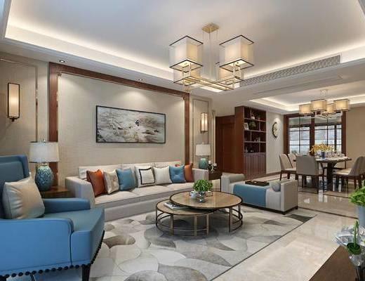 新中式, 中式, 客餐厅, 沙发餐桌椅组合, 中式客厅, 沙发组合