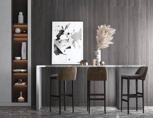 现代, 吧台, 吧台椅, 吧椅, 3D模型