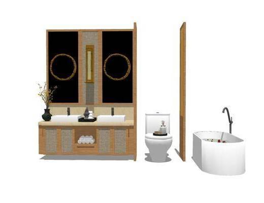 洗手盆, 浴缸, 壁镜, 马桶