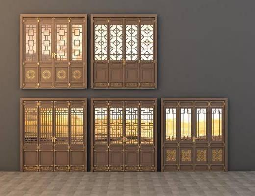仿古门窗, 中式门窗, 门窗, 镂空窗花