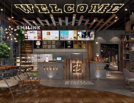 咖啡厅, 工业风咖啡厅, 桌椅组合, 前台, 收银柜台, 餐牌, 植物, 盆栽, 工业风