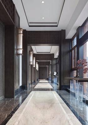 过道玄关, 饰品组合, 壁灯, 案几, 摆件, 装饰品, 陈设品, 新中式