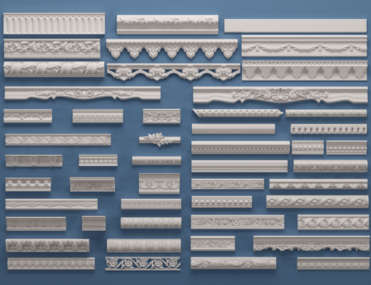 欧式石膏雕花, 线条, 构件