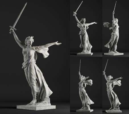 苏联祖国召唤, 人物, 雕塑, 欧式, 欧式人物雕塑