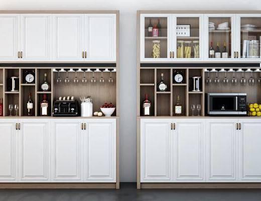 实木酒柜, 装饰柜, 摆件, 装饰品, 酒瓶, 北欧