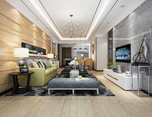 现代客厅, 客厅, 沙发组合, 现代沙发, 沙发茶几组合, 电视柜, 多人沙发, 边几, 台灯, 吊灯