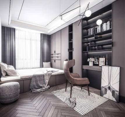 卧室, 书桌, 单椅, 书柜, 衣柜
