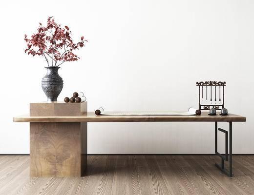 新中式书桌, 毛笔架, 盆栽, 实木书桌