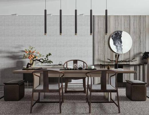 茶桌, 盆栽, 茶具, 泡茶椅, 边柜, 墙饰, 饰品摆件