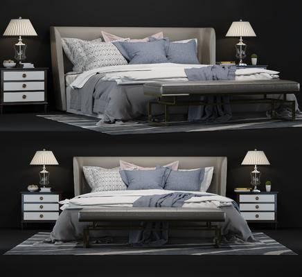 现代, 简约, 床头柜, 双人床, 台灯, 尾榻, 摆件, 装饰品