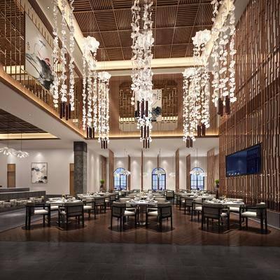 餐厅, 餐桌, 餐椅, 单人椅, 吊灯, 茶几, 摆件, 装饰品, 陈设品, 装饰画, 挂画, 美式