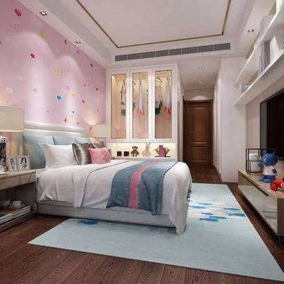 儿童房, 卧室, 现代, 现代卧室, 床, 床头柜, 电视柜, 台灯, 衣柜