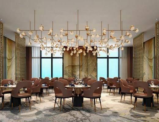 新中式酒店餐厅, 新中式, 餐厅, 餐桌椅, 现代吊灯, 屏风