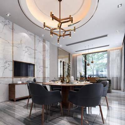 现代餐厅, 现代, 餐厅, 餐桌椅, 吊灯, 边柜, 窗帘