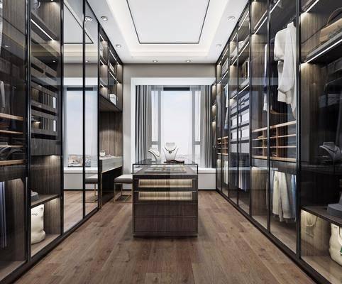 衣帽间, 服饰, 凳子, 展示柜, 现代轻奢