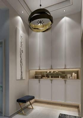 玄关, 灯具, 鞋柜, 摆件, 凳子